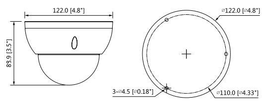 IPC-HDBW5449R-ASE-NI - wymiary kamery kopułkowej