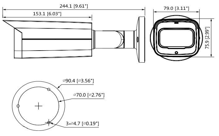 wymiary kamery IPC-HFW2231T-ZS