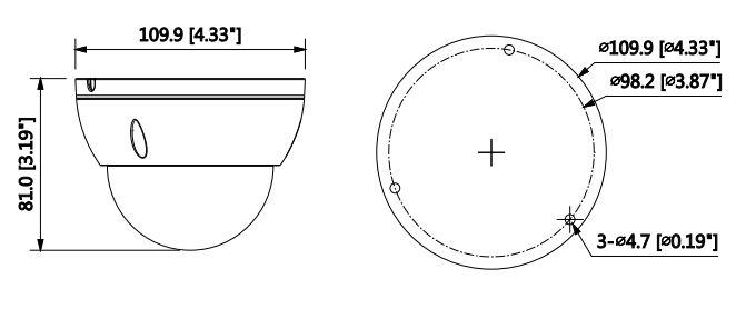 wymiary kamery IPC-HDBW1531E