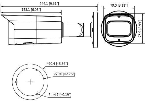 IPC-HFW5442T-ASE - wymiary kamery tulejowej