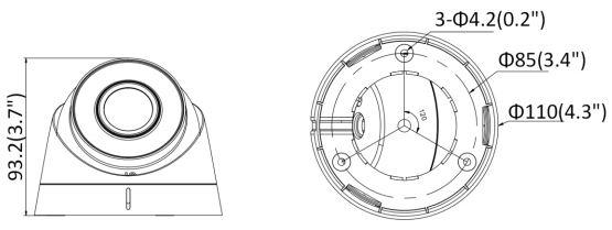 DS-2CD1323G0-I - wymiary kamery kopułowej