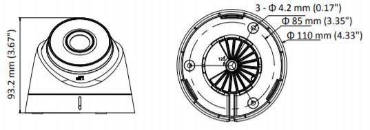 DS-2CD1343G0-I - wymiary kamery kopułowej Hikvision