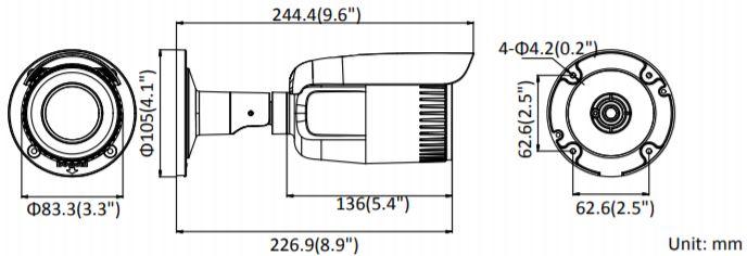 DS-2CD1643G0-I - wymiary kamery zewnętrznej
