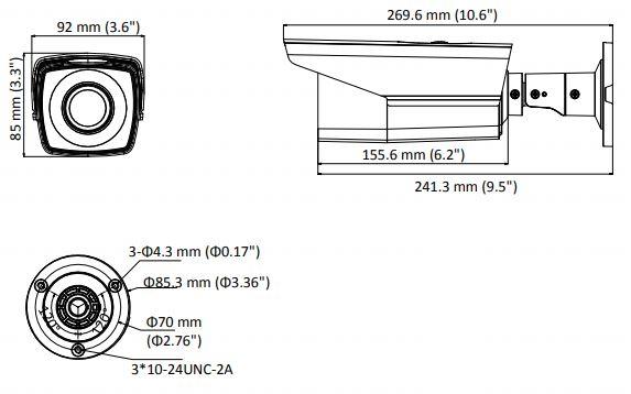 wymiary kamery DS-2CE16D8T-AIT3ZF