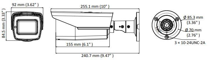wymiary kamery DS-2CE16H0T-IT3ZF