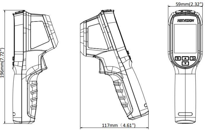 DS-2TP31B-3AUF - wymiary kamery termowizyjnej